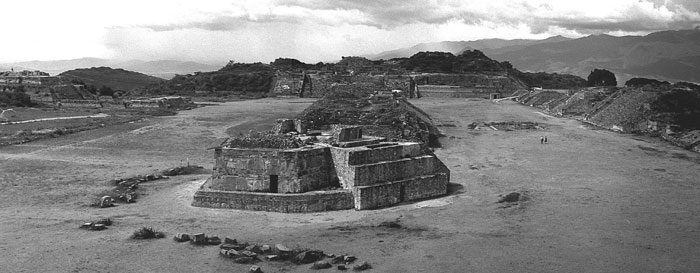 main plaza - the Observatory, Monte Alban, 1976