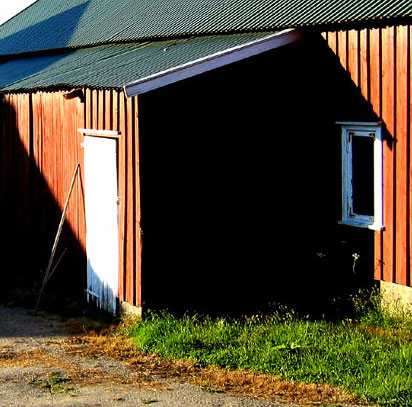 barn shadows, near Mølan
